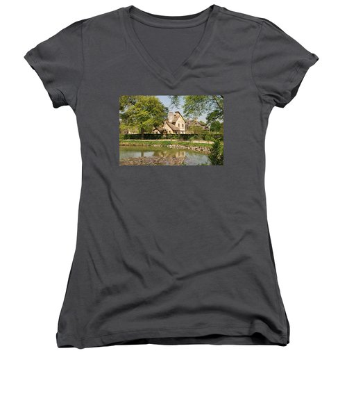 Cottage In The Hameau De La Reine Women's V-Neck T-Shirt (Junior Cut) by Jennifer Ancker