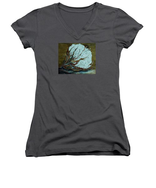 Cotton Boll On Wood Women's V-Neck T-Shirt