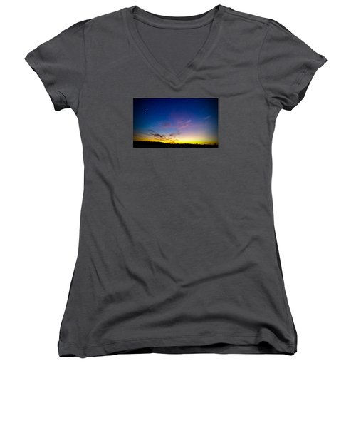 Cotton Candy Clouds Women's V-Neck T-Shirt (Junior Cut) by Jean Haynes