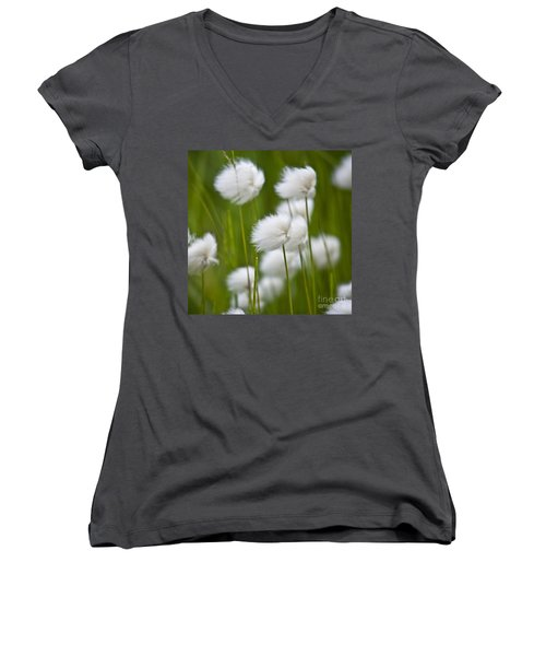 Women's V-Neck featuring the photograph Cottonsedge by Heiko Koehrer-Wagner