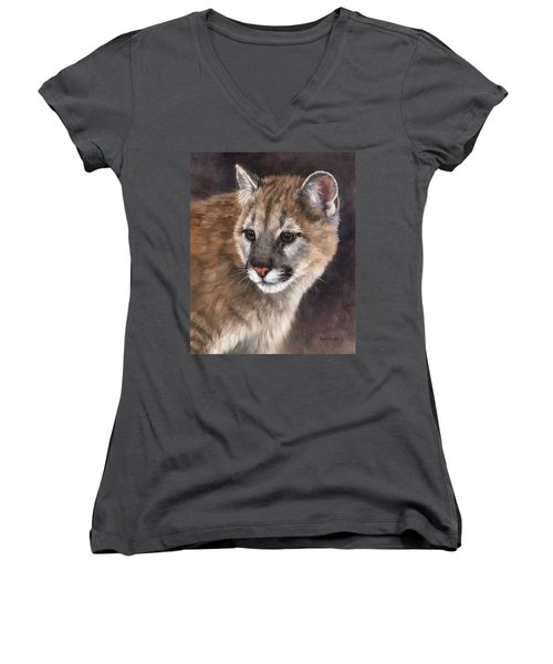 Cougar Cub Painting Women's V-Neck T-Shirt (Junior Cut) by Rachel Stribbling