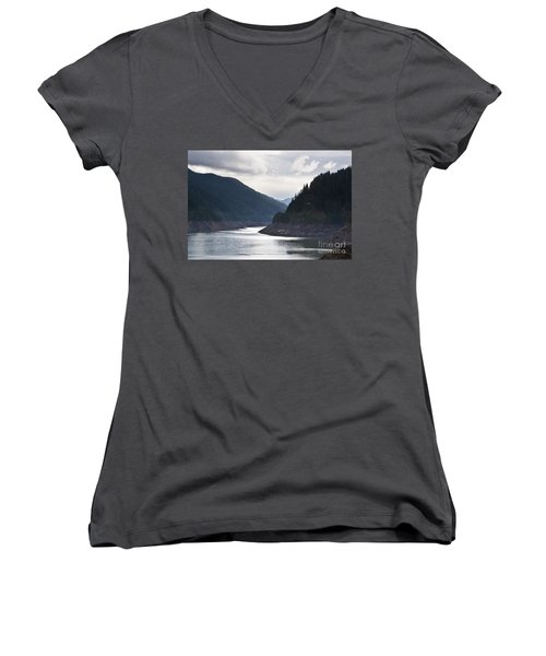 Women's V-Neck T-Shirt (Junior Cut) featuring the photograph Cougar Reservoir by Belinda Greb