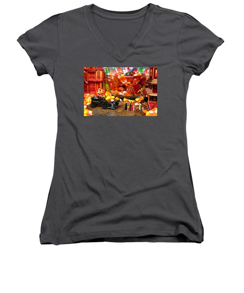 Count And Countess Dracula Inadvertently Took Their Daughters Trick Or Treating At The Van Helsings Women's V-Neck T-Shirt (Junior Cut) by Lon Casler Bixby