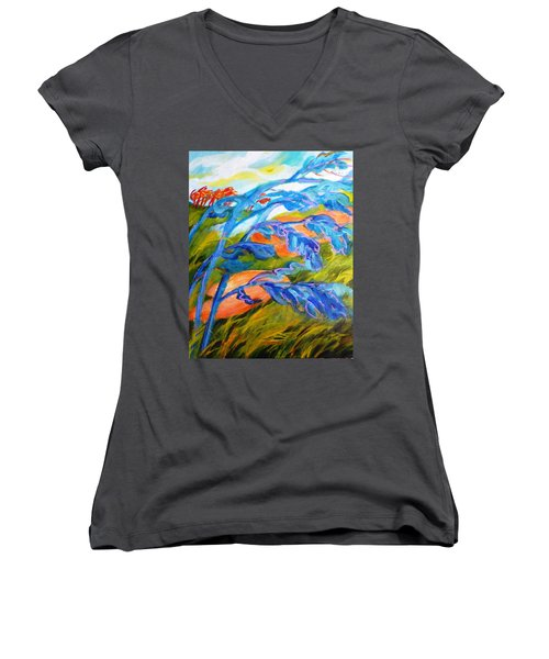 Count The Wind Women's V-Neck T-Shirt (Junior Cut) by Betty M M   Wong