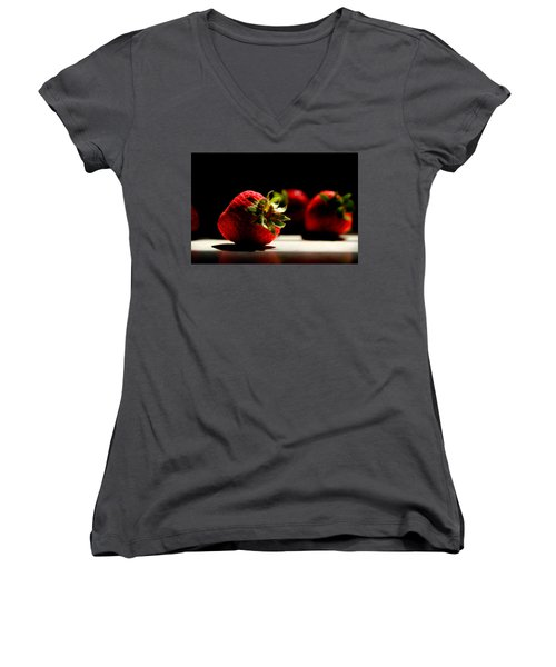 Countertop Strawberries Women's V-Neck T-Shirt (Junior Cut) by Michael Eingle