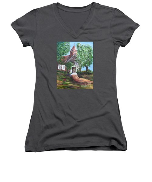 Women's V-Neck T-Shirt (Junior Cut) featuring the painting Country Church by Eloise Schneider