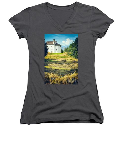 Women's V-Neck T-Shirt (Junior Cut) featuring the photograph Country Church With Hay by Silvia Ganora