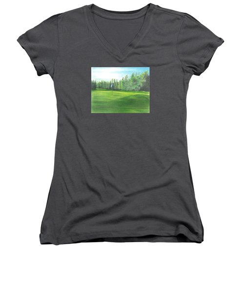 Women's V-Neck T-Shirt (Junior Cut) featuring the drawing Country Club by Troy Levesque