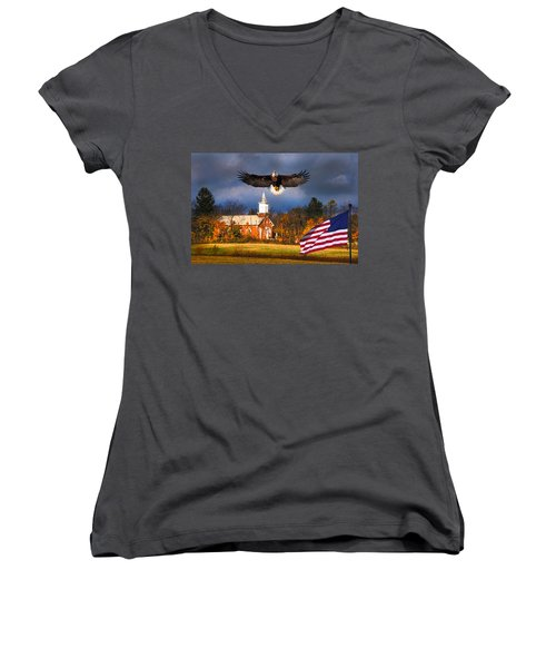 country Eagle Church Flag Patriotic Women's V-Neck T-Shirt (Junior Cut) by Randall Branham
