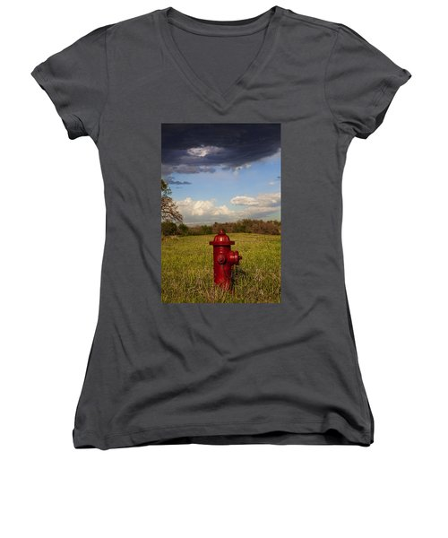 Country Fire Hydrant Women's V-Neck (Athletic Fit)