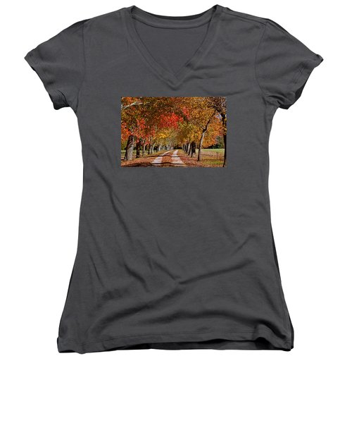 Women's V-Neck T-Shirt (Junior Cut) featuring the photograph Country Lane In Autumn by Jerry Gammon