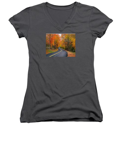 Women's V-Neck T-Shirt (Junior Cut) featuring the painting Country Road In Autumn by Bruce Nutting