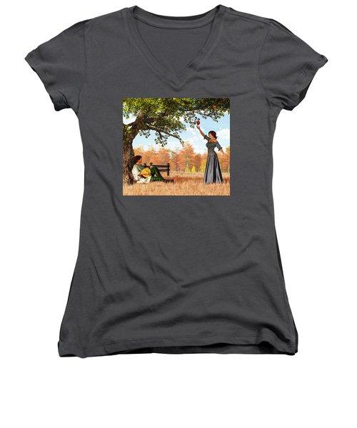Couple At The Apple Tree Women's V-Neck
