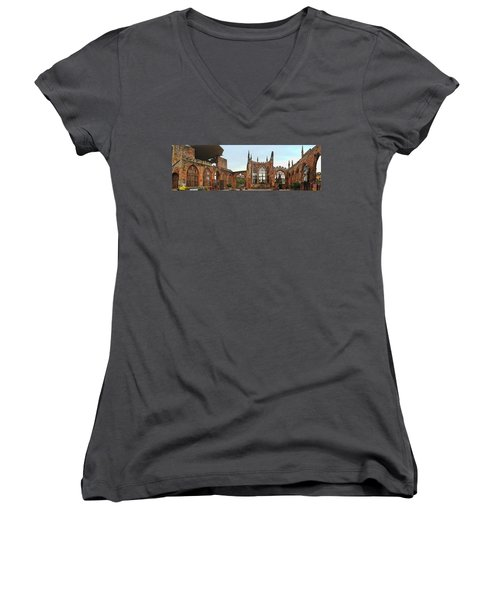 Coventry Cathedral Ruins Panorama Women's V-Neck