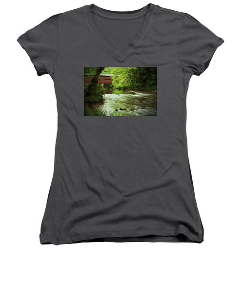 Covered Bridge Over French Creek Women's V-Neck T-Shirt (Junior Cut) by Michael Porchik