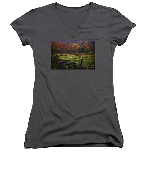 Women's V-Neck T-Shirt (Junior Cut) featuring the photograph Cow Pasture In Autumn by Debra Fedchin