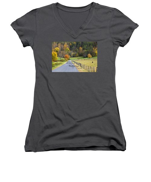Cow Pasture With Scripture Women's V-Neck (Athletic Fit)