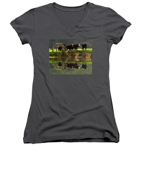Cow Reflections Women's V-Neck T-Shirt