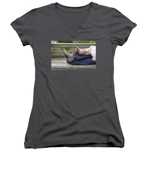Women's V-Neck T-Shirt (Junior Cut) featuring the photograph Cowgirls by Laurie Perry