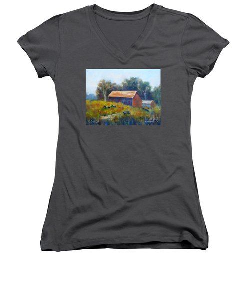 Cows By The Barn Women's V-Neck