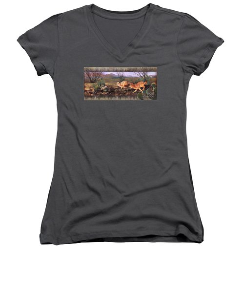 Women's V-Neck T-Shirt (Junior Cut) featuring the painting Coyote Run With Boarder by Rob Corsetti