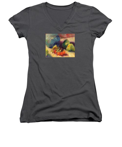 Crab Apples And Pears Women's V-Neck T-Shirt (Junior Cut) by Michelle Abrams