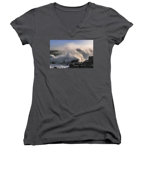 Women's V-Neck T-Shirt (Junior Cut) featuring the photograph Crashing Surf by Marty Saccone