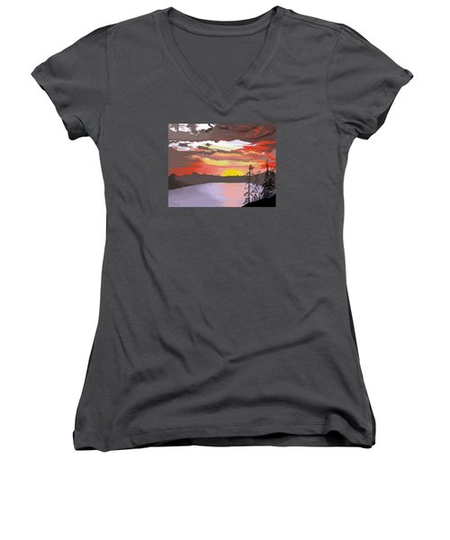 Crater Lake Women's V-Neck T-Shirt (Junior Cut) by Terry Frederick