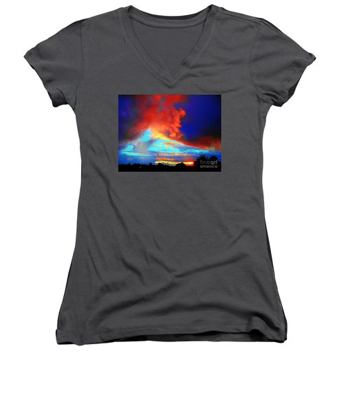 Women's V-Neck T-Shirt (Junior Cut) featuring the photograph Strange Sunset by Mark Blauhoefer