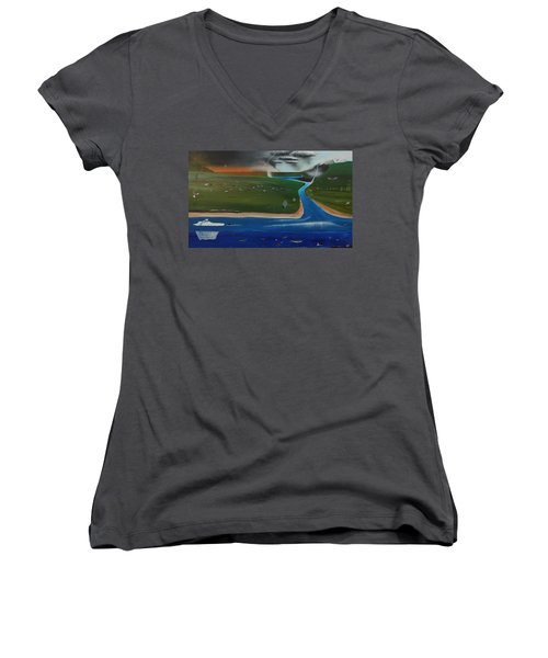 Creation And Evolution - Painting 1 Of 2 Women's V-Neck T-Shirt (Junior Cut) by Tim Mullaney