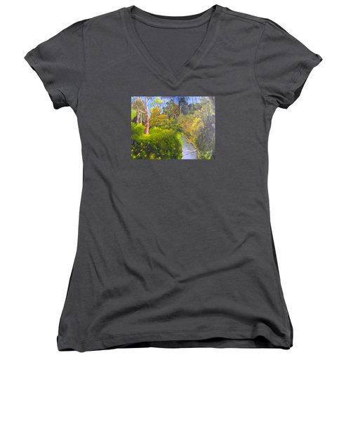 Creek In The Bush Women's V-Neck T-Shirt