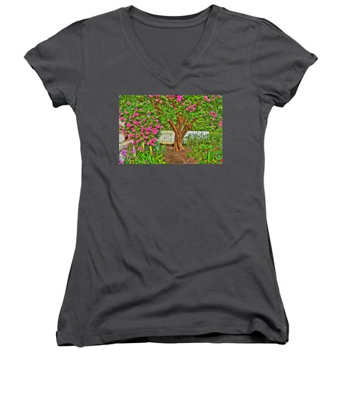 Women's V-Neck T-Shirt (Junior Cut) featuring the photograph Crepe Myrtle In Wiliamsburg Garden by Jerry Gammon
