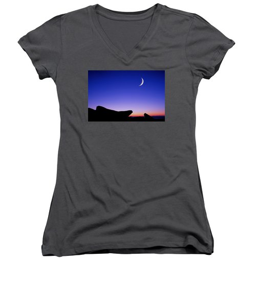 Women's V-Neck featuring the photograph Crescent Moon Halibut Pt. by Michael Hubley