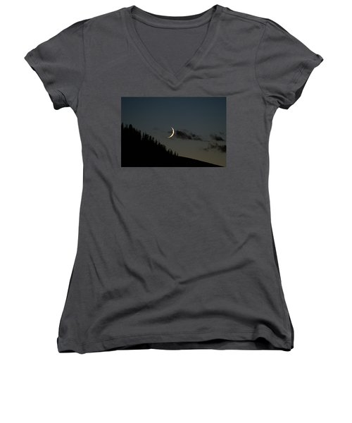 Women's V-Neck T-Shirt (Junior Cut) featuring the photograph Crescent Silhouette by Jeremy Rhoades