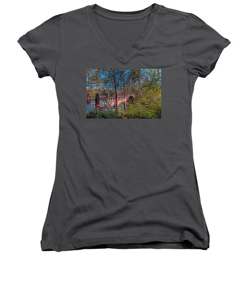 Women's V-Neck T-Shirt (Junior Cut) featuring the photograph Crim Dell Bridge by Jerry Gammon