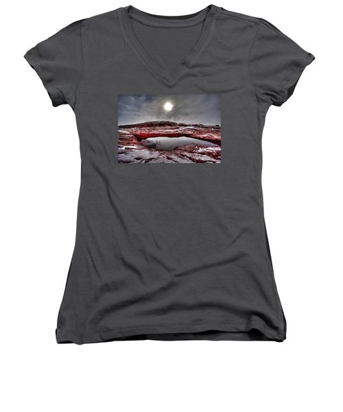 Women's V-Neck T-Shirt (Junior Cut) featuring the photograph Crimson Arch by David Andersen