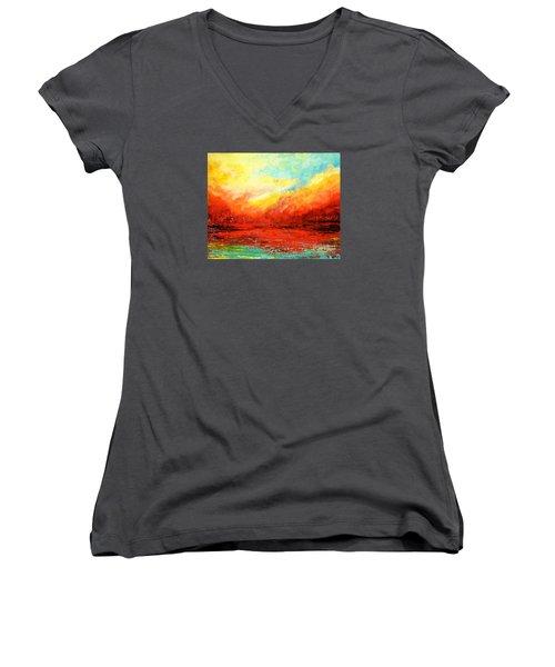 Crimson No.2 Women's V-Neck T-Shirt (Junior Cut) by Teresa Wegrzyn