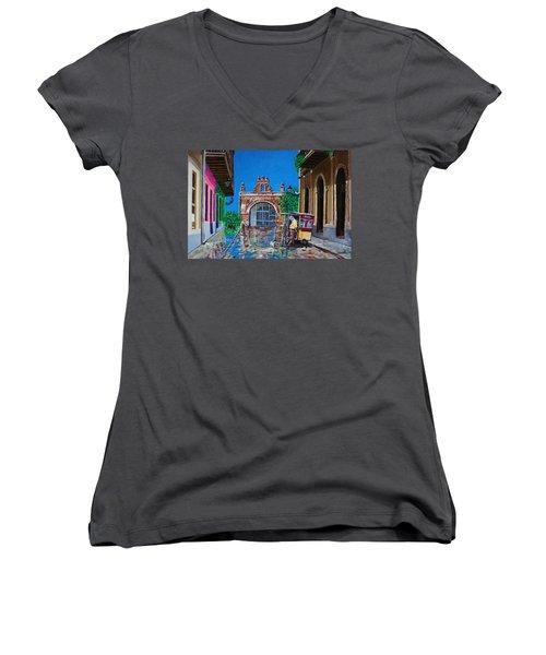 Capilla De Cristo - Old San Juan Women's V-Neck T-Shirt (Junior Cut) by The Art of Alice Terrill