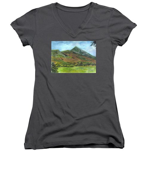 Croagh Saint Patricks Mountain In Ireland  Women's V-Neck T-Shirt (Junior Cut) by Carol Wisniewski