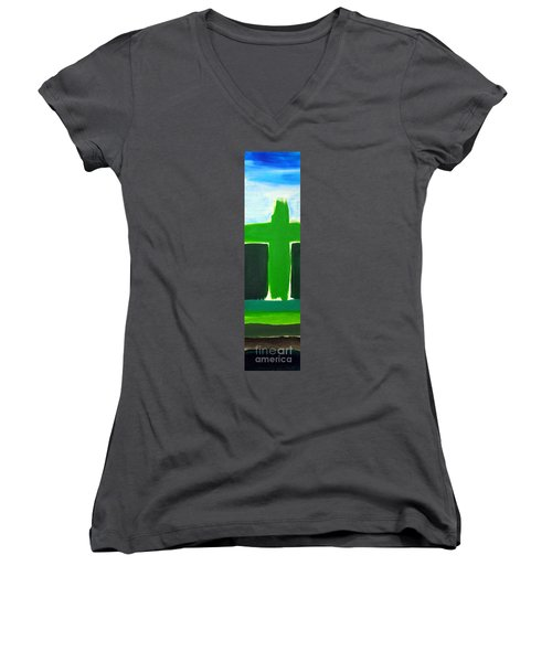 Green Cross On Hill Women's V-Neck