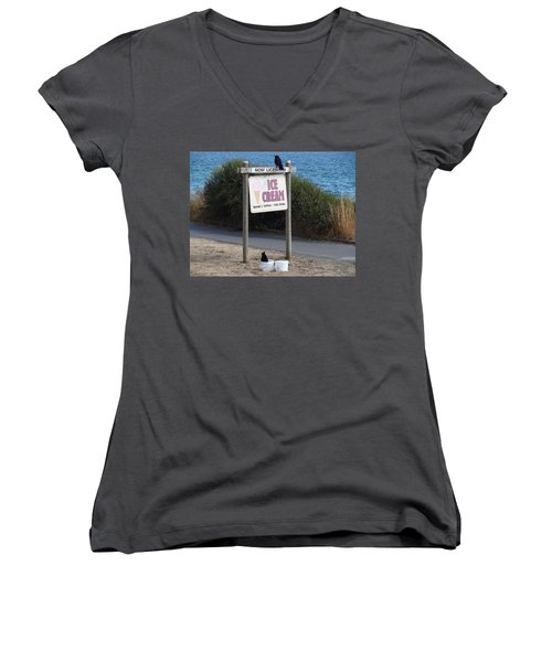 Women's V-Neck T-Shirt (Junior Cut) featuring the photograph Crow In The Bucket by Cheryl Hoyle