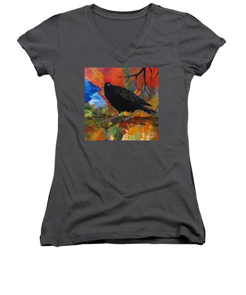 Crow On A Branch Women's V-Neck T-Shirt