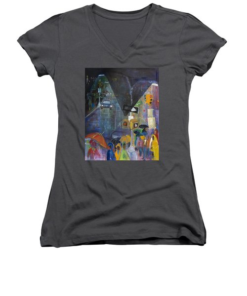Crowded Intersection Women's V-Neck T-Shirt (Junior Cut) by Leela Payne