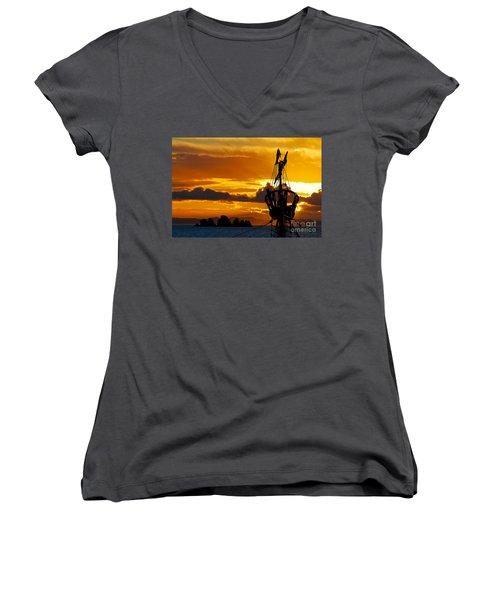 Crows Nest Silhouette On Newfoundland Coast Women's V-Neck T-Shirt (Junior Cut) by Les Palenik