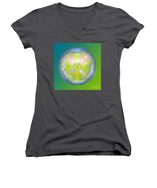 Crystal Ball Women's V-Neck T-Shirt (Junior Cut) by Christine Fournier