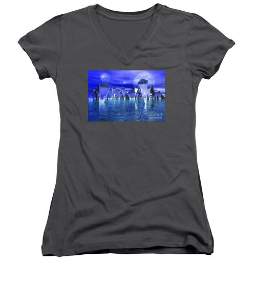 Women's V-Neck T-Shirt (Junior Cut) featuring the photograph Crystal River by Mark Blauhoefer