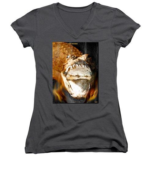 Women's V-Neck T-Shirt (Junior Cut) featuring the digital art Cuban Crocodile by Daniel Janda