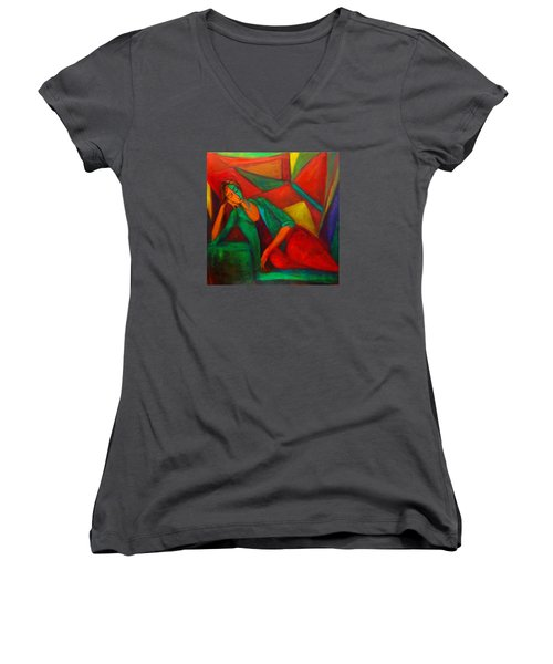 Cubism Contemplation  Women's V-Neck T-Shirt