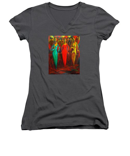 Cubism Dance II Women's V-Neck T-Shirt