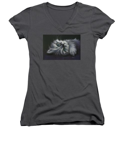 Women's V-Neck T-Shirt (Junior Cut) featuring the drawing Cuddles by Cynthia House